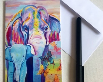 f7f30c82d1419 Freedom - Mother and Baby Elephant with Butterflies Greetings card, art  card, gift card, birthday card.