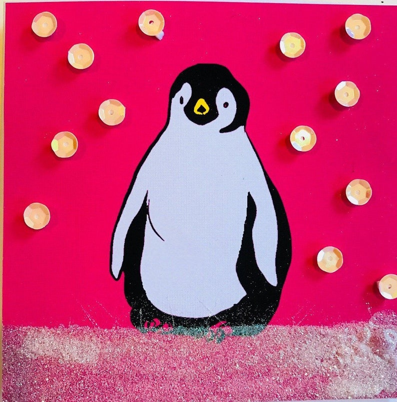 Penguin Christmas  cards handmade  Printed glitter and sequins with my illustration