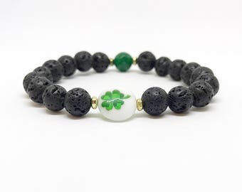 SALE***Four Leaf Clover, Lava, Bracelet, Diffuser Jewelry, Essential Oils, Gift, Oil Diffuser, St Patricks Day, Stackable, Spring, Green