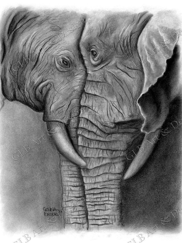 Elefant Geschenke Elefant Dekor Kohle Kunst Elefant | Etsy