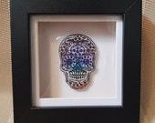 Framed Sugar Skull Home Décor. Handmade Resin and Ink Frame, perfect House Warming, birthday gift. Sugar Skull inspired framed gift.