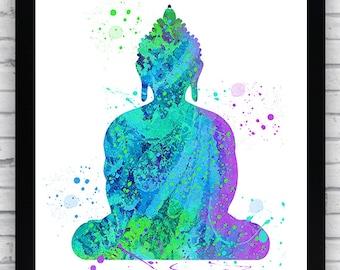 Buddha Watercolor Printable Wall Art, Buddha wall decor, Buddha printable poster