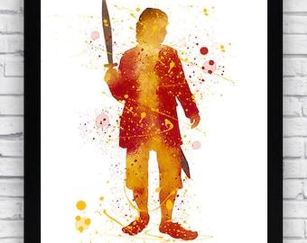 Bilbo Baggins Lord Of The Rings Watercolor print, Bilbo Baggins Lord Of The Rings  Printable Wall Art, Bilbo Lord Of The Rings  poster
