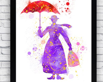 Mary Poppins Watercolor print, Mary Poppins Printable Wall Art, Mary Poppins wall decor, Mary Poppins poster