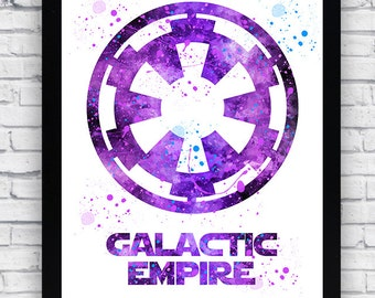 Star Wars Galactic Empire Crest watercolor Printable, Star Wars Galactic Empire Crest wall art, Star Wars Galactic Empire Crest poster