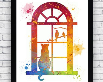 Cat at the Window watercolor print, Cat at the Window Wall Art, Cat at the Window Baby Boy Nursery