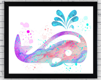 Whale Watercolor print, Whale Printable Wall Art, Whale wall art, Whale poster, Whale nursery decor