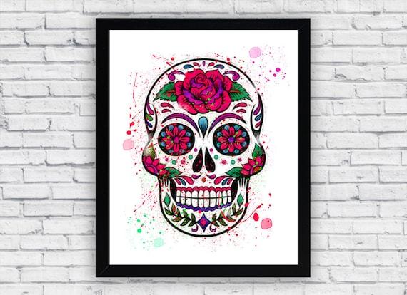 Imprimir acuarela de calavera de azúcar mexicana mexicana | Etsy