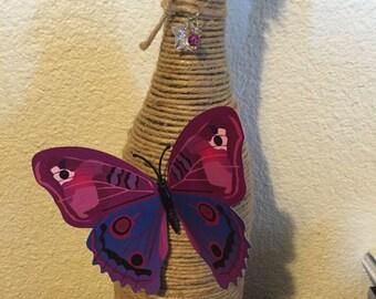 Papillon fil enroulé décor bouteille de vin avec breloque étoile