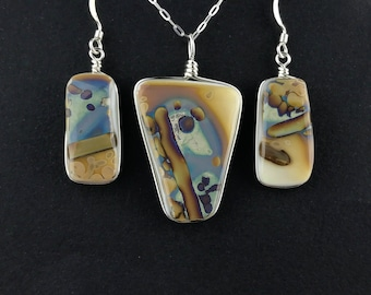 Fused Glass Jewelry / Ivory and reactive fused glass pendant and earrings set