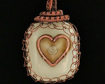 Ivory dichroic glass pendant with copper wire work
