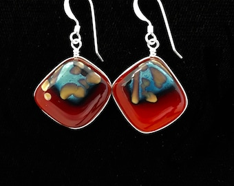 Fused Reactive Glass Earrings / Red glass, silver foil and reactive fused glass wire wrapped earrings