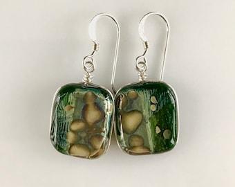 Fused Reactive Glass Earrings / Aventurine Green glass, silver foil and reactive fused glass wire wrapped earrings