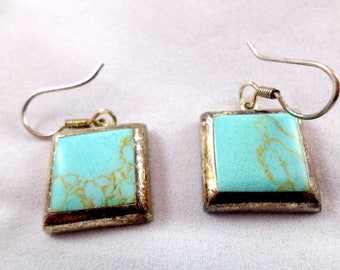 Vintage Estate Turquoise Sterling Silver .925 Earrings 17e6d51f644c