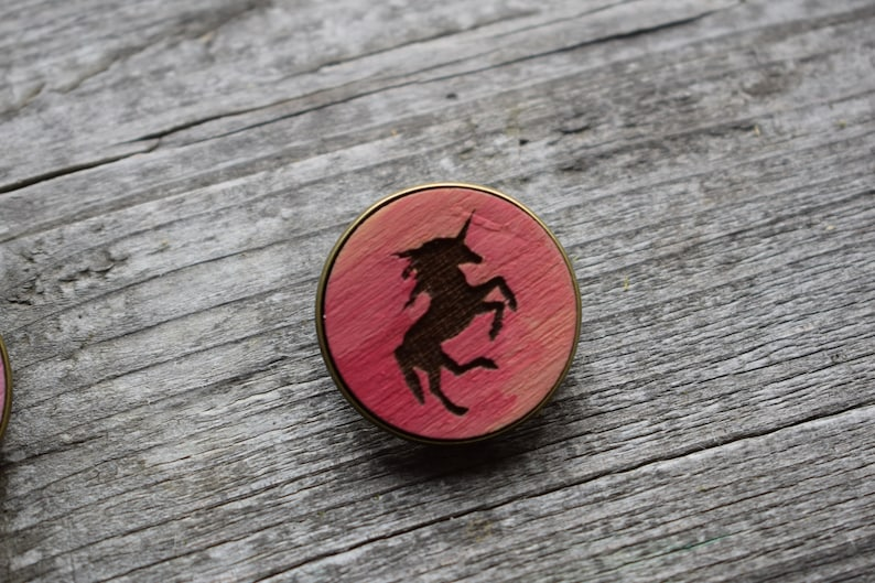 Unicorn wooden brooch colorful brooch wooden favors decorative red pin red unicorn brooch red brooch