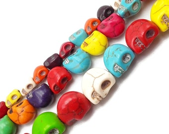 13mm Red Rain Stone Skull Loose Beads 16/""