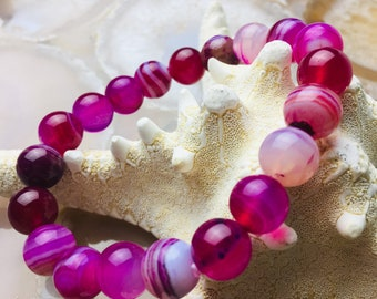 "Hot Pink Stripe Agate Bracelet Length 7.5""  w/Elastic Cord. Beads Size 8mm/10mm"