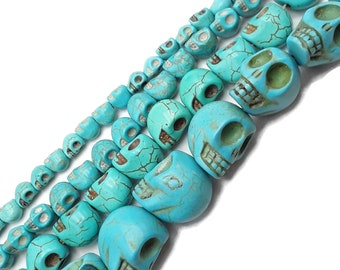 Skull Beads Synthetic Howlite Green 10 Pieces 9mm Loose Jewellery making