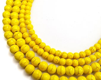 50 or 100 Pieces BL9 25 8mm Golden Yellow and White Round Glass Beads