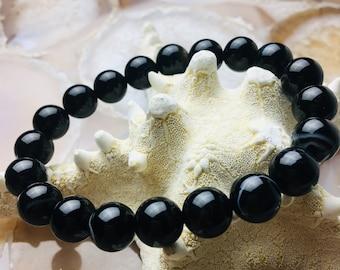 "Black Stripe Agate Bracelet Length 7.5""  w/Elastic Cord. Beads Size 8mm/10mm"