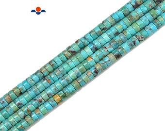 16mm Bluejoy Genuine Indian-Style Natural Turquoise XL Free-Form Flat Disc Bead 16-inch Strand