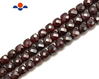 Red Garnet Square Beads Strand Indian Garnet Beads Garnet Square Beads Plain Garnet Beads Garnet Heishi Beads
