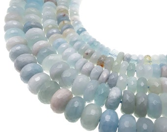 15 Inches Strand,Natural Aquamarine Micro Faceted Rondelles.4.5-5mm