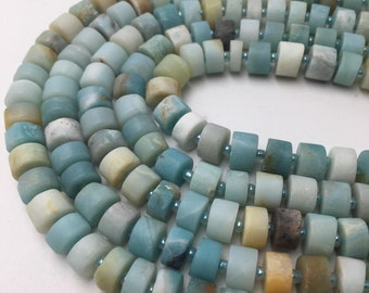 """Natural Matte Amazonite Rondelle Gemstone  Loose Beads Approximate Size 5x8mm /6x10mm 15.5"""" Long Per Strand"""