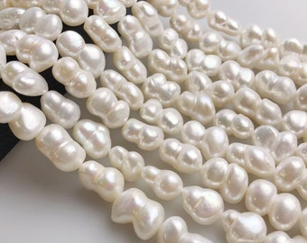#635 12-14 x 21-25 mm Half Strand Large Hole Baroque Peanut Pearls Natural Pink
