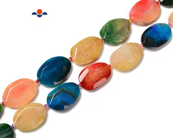 Natural dyed twisted oval beads 20x30mm 10 beads Agate twisted oval beads Genuine Gemstone