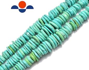 15 Magnesite 14mm 16mm heishi disc wheel beads gemstone turquoise blue PICK SIZE