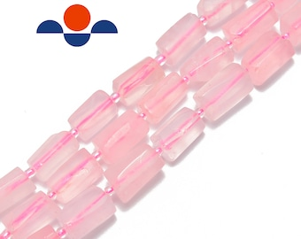 Full 15 strand of cylinder Rose Quartz beads 30 transparent soft pink beads. approx 4x13mm Tube Shaped Rose Quartz Gemstone Beads