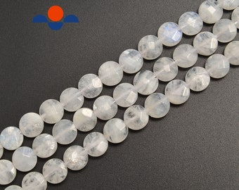 1strand natural peach moonstone faceted coin sized 12mm