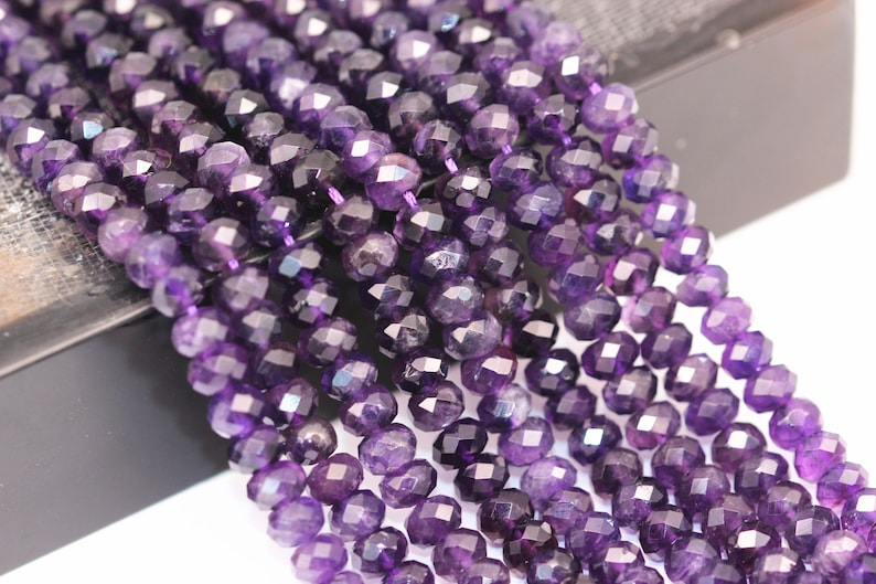 Natural Amethyst Faceted Rondelle Size 4x6mm 5x8mm 15.5 Strand