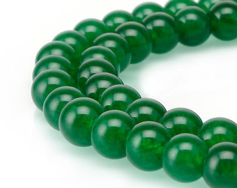 """Nice Green Dyed Jade Gemstone Smooth Round Loose Beads Size 4mm/6mm/8mm/10mm Approx 15.5""""per Strand.R-S-JAD-0164"""