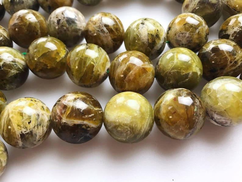 Large Bead Size Natural Yellow Opal Smooth Round Gemstone Beads Size 20mm18mm 15.5/'/' long Per Strand