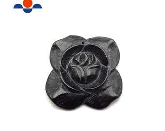 Hand Carved Black Jade flower Pendant Size Approx 40mm Sold Per Piece