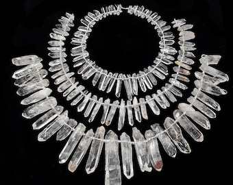 """Clear Quartz Smooth Graduated Stick Points Beads Size 14-60mm 15.5"""" Strand"""