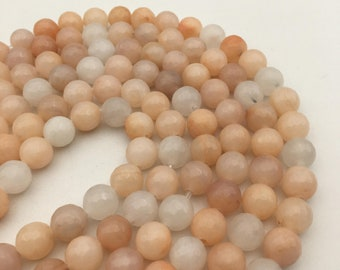 "2.0mm Large Hole Faceted Pink Aventurine Gemstone Round Loose Beads Size 10mm/12mm Approx 15.5"" Long per Strand"