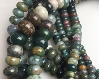 Genuine India Agate Graduated Smooth Rondelle Loose Beads 15.5 Inch Per Strand Size 6-16mm.