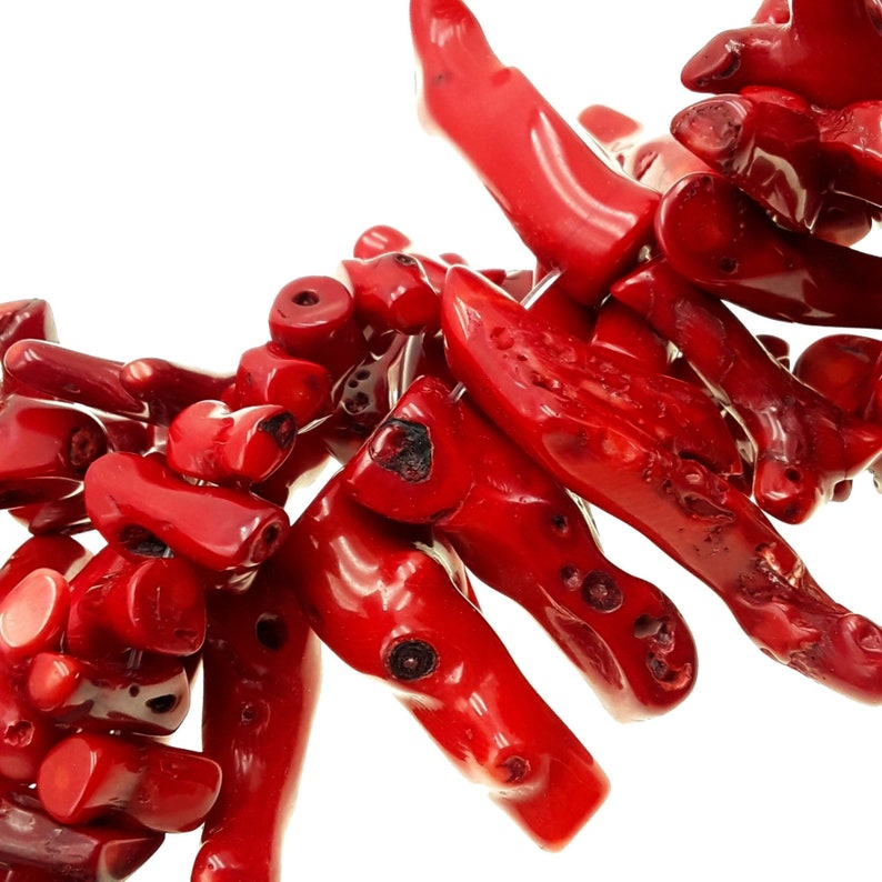 Red Bamboo Coral Branch Stick Points Beads Approx 20mm 40mm 60mm 15.5Strand