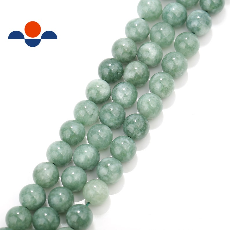 2.0mm Large Hole Green Jade Smooth Round Loose Beads 15.5/'/' Long Size 8mm//10mm