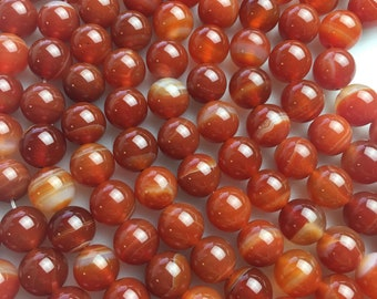 "Smooth Red Stripe Agate Genuine Loose Gemstone Beads Size 6mm/8mm/10mm Approximately 15.5"" per Strand"