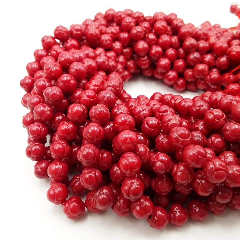 Red Bamboo Coral Carved Round Beads  Size 8mm 15.5'' image 0