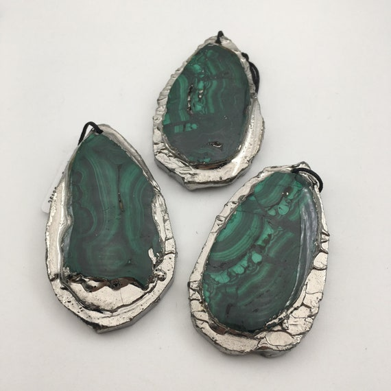 "Nouveau 13x18mm Vert Malachite Oval Gemstone Collier 17/"" AAA"