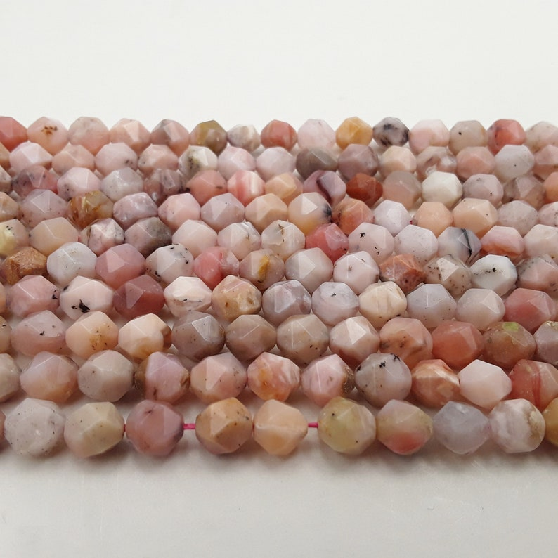 Pink Opal Faceted Star Cut Size 8mm Approx 15.5 Strand image 0