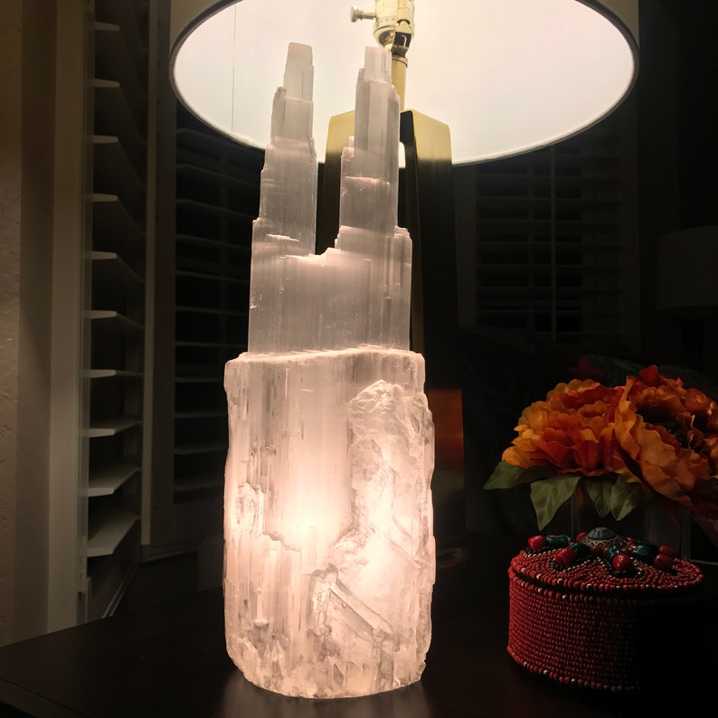 Selenite Gemstone  Petronas Towers For Lights  the size Approx 4.5x12.5 inches for home decoration