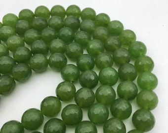 "Green Dyed Jade Faceted Round Gemstone Loose Beads Size 10mm/12mm Approx 15.5"" Long per Strand"