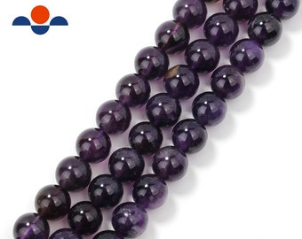 """Natural Amethyst Smooth Round Beads 4mm 6mm 8mm 10mm 12mm Approx 15.5"""" Strand"""