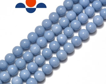 """Natural Angelite Smooth Round Beads 4mm 6mm 8mm 10m 12mm 15.5"""" Strand"""